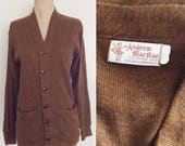 1950's Brown Acrylic Cardigan Sweater Size Small by Maeberry Vintage