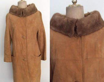 30% OFF 1960's Suede Leather Coat w/ Mink Collar Size Medium Large by Maeberry Vintage