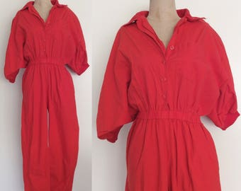 1980's Red Cotton Jumpsuit Size Medium Large by Maeberry Vintage