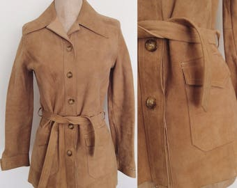 1970's Buttery Soft Suede Jacket Beige Tan Leather Belted Coat Size Small Medium by Maeberry Vintage