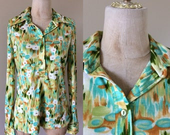 1970's Abstract Lilly Pad Cotton Poly Top by Alex Coleman Size Medium Large by Maeberry Vintage