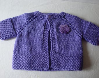 Newborn knit sweater, Infant sweater, Infant wear, hand knit sweater, Newborn gift, baby shower gift, Lavendar sweater