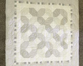 Handmade Gender Neutral Baby Quilt - Grey and White