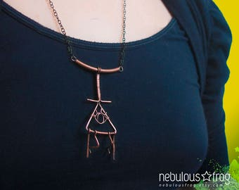Gravity Falls inspired BILL CIPHER Necklace || copper pendant, cartoon necklace, Gravity Falls jewelry