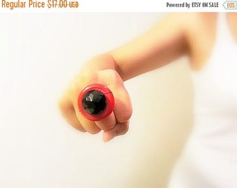 CIJ SALE Red, Black Vintage Button Ring, Retro Adjustable, Modern Upcycled Fashion Jewelry