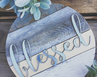 """16""""  { Blessed } Barnwood Round Galvanized Metal Home Decor Sign Farmhouse Style"""