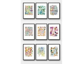 Set of 9 prints, Office Decor, fine art prints, watercolor prints, bulk art set