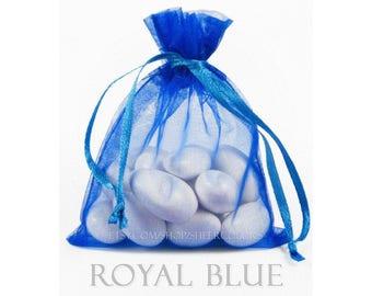 10 Cobalt Royal Blue Organza Bags, 5 x 8 Inch Sheer Fabric Favor Bags