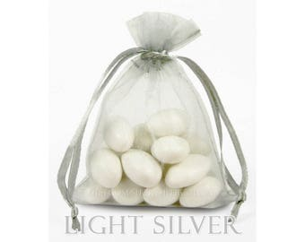 10 Light Silver Grey Organza Bags, 5 x 8 Inch Sheer Fabric Favor  and Gift Bags