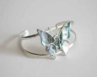 Butterfly Abalone Alpaca Sterling Cuff Bracelet