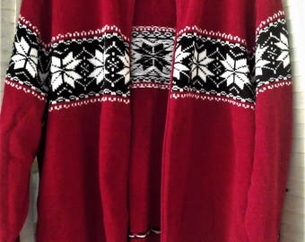 Size 22-24 Red Fair Isle Jacket/ Winter-Holiday Zip Front Jacket/ Soft Acrylic Snowflake Knit Pattern/ Plus Size Red Jacket/ Sheerfab Thrift