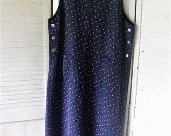 Large, Navy Print, Jumper Dress/ Vintage Cotton Jumper/ Add a Turtle Neck for Fab Fall Outfit/ Shabbyfab Thrifted Funwear
