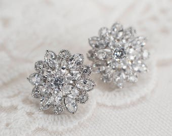 Bridal Earrings, Cubic Zirconia Stud Bridal Earrings, Cubic Zirconia Stud Earrings, Bridal Cubic Zirconia Stud Earrings,CZ Bridal Jewelry
