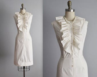 60's Dress // Vintage 1960's Cream Ruffle Casual Garden Party Day Dress