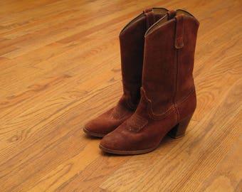 vintage rust suede cowboy boots