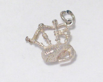Sterling Silver charm pendant bagpipes 3d 800 Silver scottish 4 necklace bracelet european Scotland vintage fine jewelry