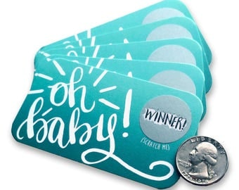 Oh Baby! Baby Shower Scratch Off Game - Baby Shower Prizes - Scratch Off Baby Boy Shower Baby Bingo - Baby Shower Games - Baby Shower Favor