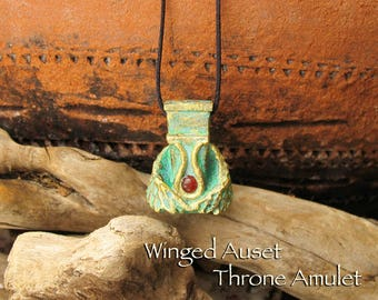 Winged Throne of Auset Amulet - Natural Carnelian Cabochon - Handcrafted with Horns & Solar Disc Symbol - Aged Golden Brass Finish