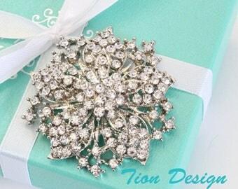 Summer Sale Bridal Brooch, Bridal Crystal Vintage Brooch, Wedding Brooch, Bridal Wrap, Faux Fur Wrap, Rhinestone Brooch | Free US shipping