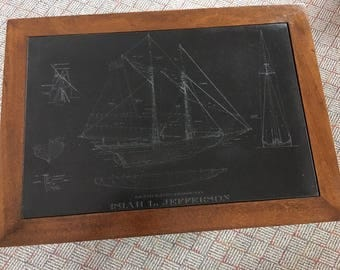 Isiah Jefferson slate top table with blueprint of clippership engraved