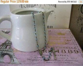 Stunning Vintage Rosary - Light Blue Glass beads Crucifix Cross
