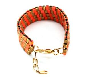 Beaded Bracelet in Sorbet Orange & Bronze