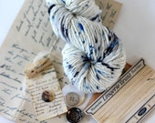 Hand dyed yarn, speckle dyed handspun yarn, China Blue, aran weight soft, Bailey 100% Merino