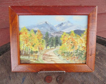 vintage painting. miniature. landscape painting. original painting. small. framed. landscape. mountains. rustic. country. oil painting.