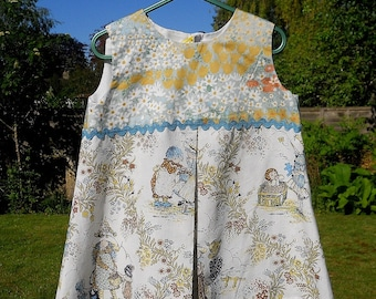 REMEMBER Holly Hobbie?  well check out this lovely OOAK Vintage fabric dress for a child