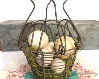 Wire Egg Basket, Folding Handle, Primitive Kitchen, Easter