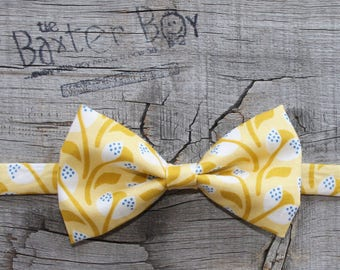 Golden yellow sprouts bow tie for boys - photo prop, ring bearer, wedding