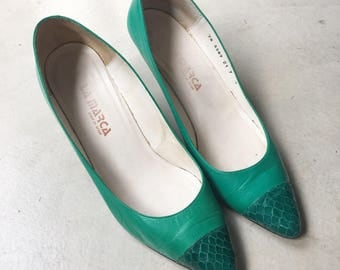 Vintage 80s Green Leather Snakeskin Pumps, Green Heels, 1980s Shoes, Made in Spain, Size 7