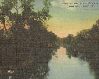 French Creek at Riverside Inn Cambridge Springs PA Vintage Linen Postcard 1958