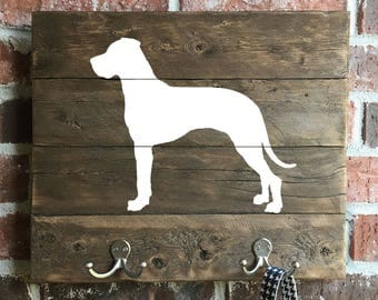 Great Dane, Natural Ears, Reclaimed Wood, leash holder, Key holder, Great Dane Sign, Great Dane Art, Wood Great Dane, German Mastiff