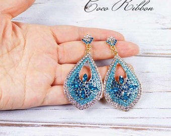 Wedding Bridal Earrings, Turquoise Open Teardrop Pave Crystal Rhinestone Drop Earrings Jewelry E01