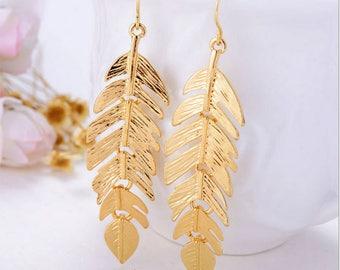 Fashion Statement Earrings, Leaf Leaves Chandelier Drop Earrings Jewelry E29