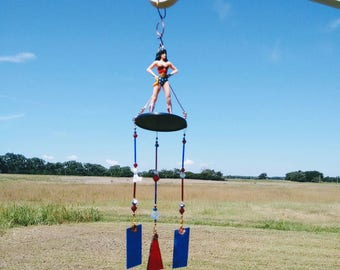 wind chimes with Wonder Woman figurine action figures heroes housewarming gift garden decor sun catcher wind chimes Brockus Creations
