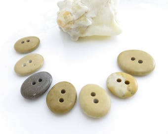 Double Drilled Natural Beach Stone Buttons 7 pcs, OOAK Buttons, Sewing Supplies, Jewelry making Organic Beads