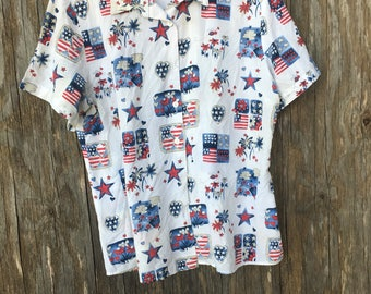 Americana Flags short sleeved camp Top