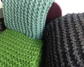 Hand Knit Bliss Throw by mlmxoxo.  super soft thick wool throw.  chunky knit.  red. sky blue. green. oak. royal blue.  Nordic rustic decor