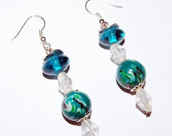 "Earrings: ""peaceful"" glass and polymer"
