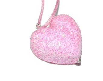 Girls' necklace, heart pink, girly, shiny, on order
