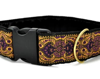 "Ready-to-Ship: Marseilles Jacquard in Purple & Gold - 2"" Buckle Collar - LARGE - Brass Hardware"