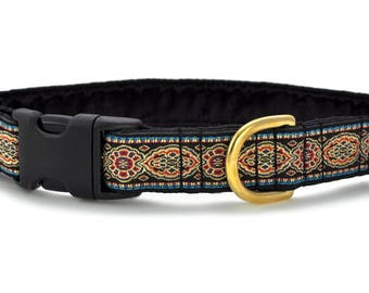 "Ready-to-Ship: Crown Jewels Jacquard - 1"" Buckle Collar - MEDIUM - Brass Hardware"