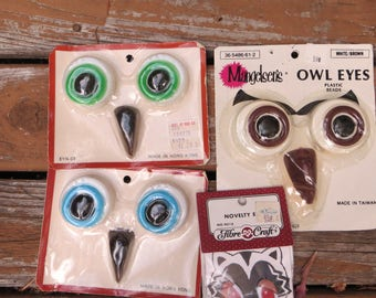 Vintage Owl Eye and Beak Plastic Beads for Macrame 3 Packages Unopened and a Package of Small Animal Eyes Green Blue and Brown Owl Eyes