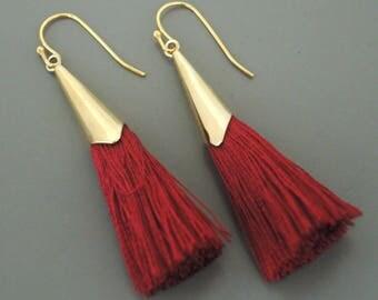 Tassel Earrings - Wine Red Earrings - Gold Earrings - Burgundy Red - Boho Earrings - Handmade Earrings
