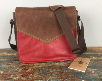 NEW - Leather Commuter Bag New Satchel  -  Medium Distressed Brown and Red Book Bag