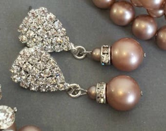 Champagne Taupe Earrings made with Swarovski Powder Almond pearl 10mm dangle and pave rhinestone Post in silver wedding mother of the bride