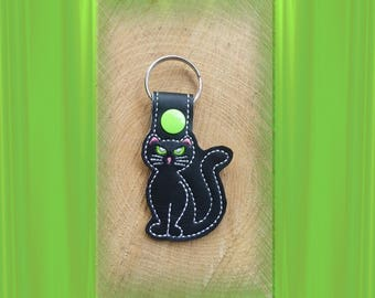 Black Cat Embroidered Key Fob, Key Chain, Luggage Tag, Bag Clip, Vinyl, Key Ring, Purse Charm