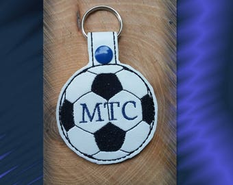 Personalized Soccer Ball Key Fob, Key Chain, Luggage Tag, Bag Clip, Vinyl, Key Ring, Purse Charm, Snap Tab